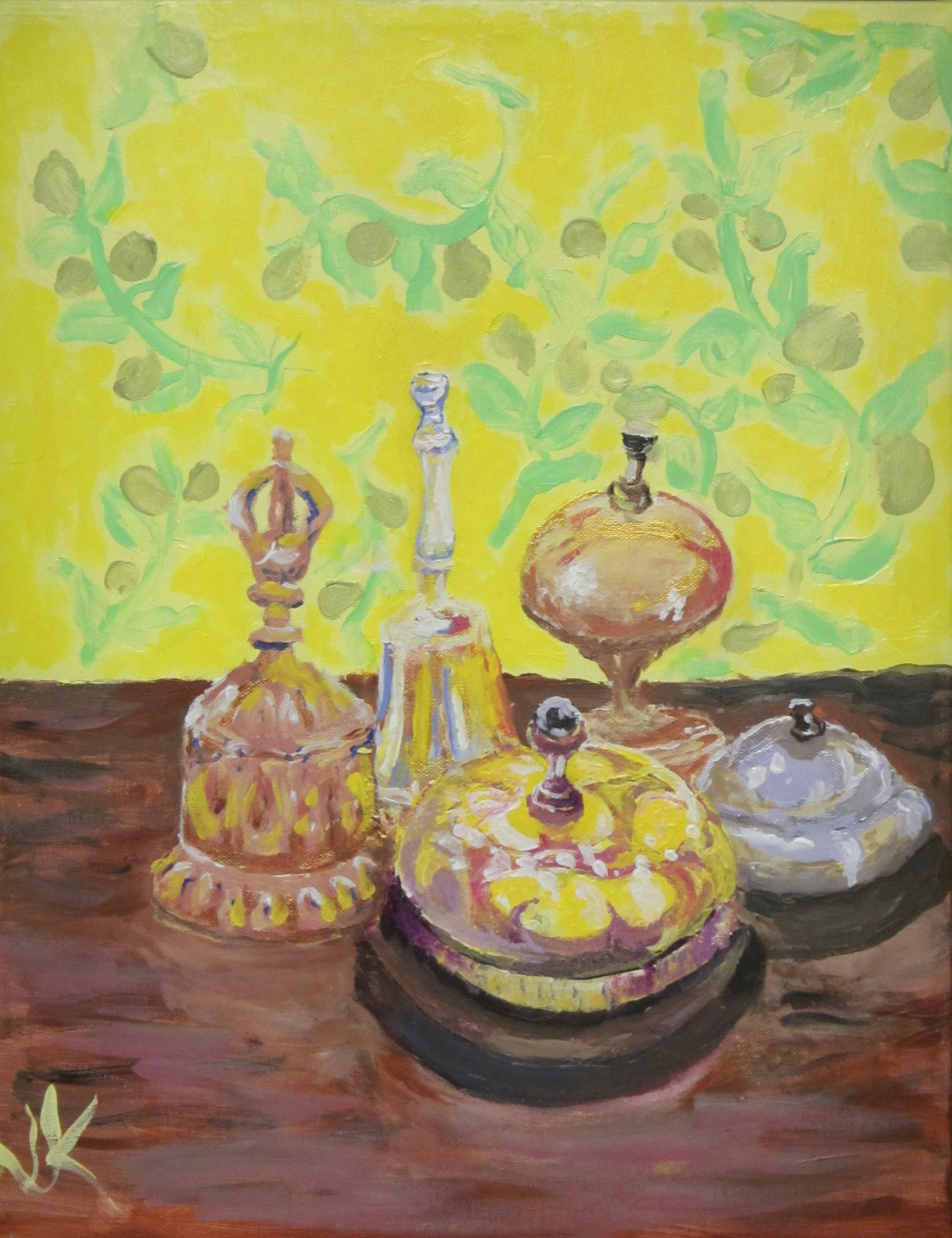 Acrylic painting on canvas of a still life with different hand bells.