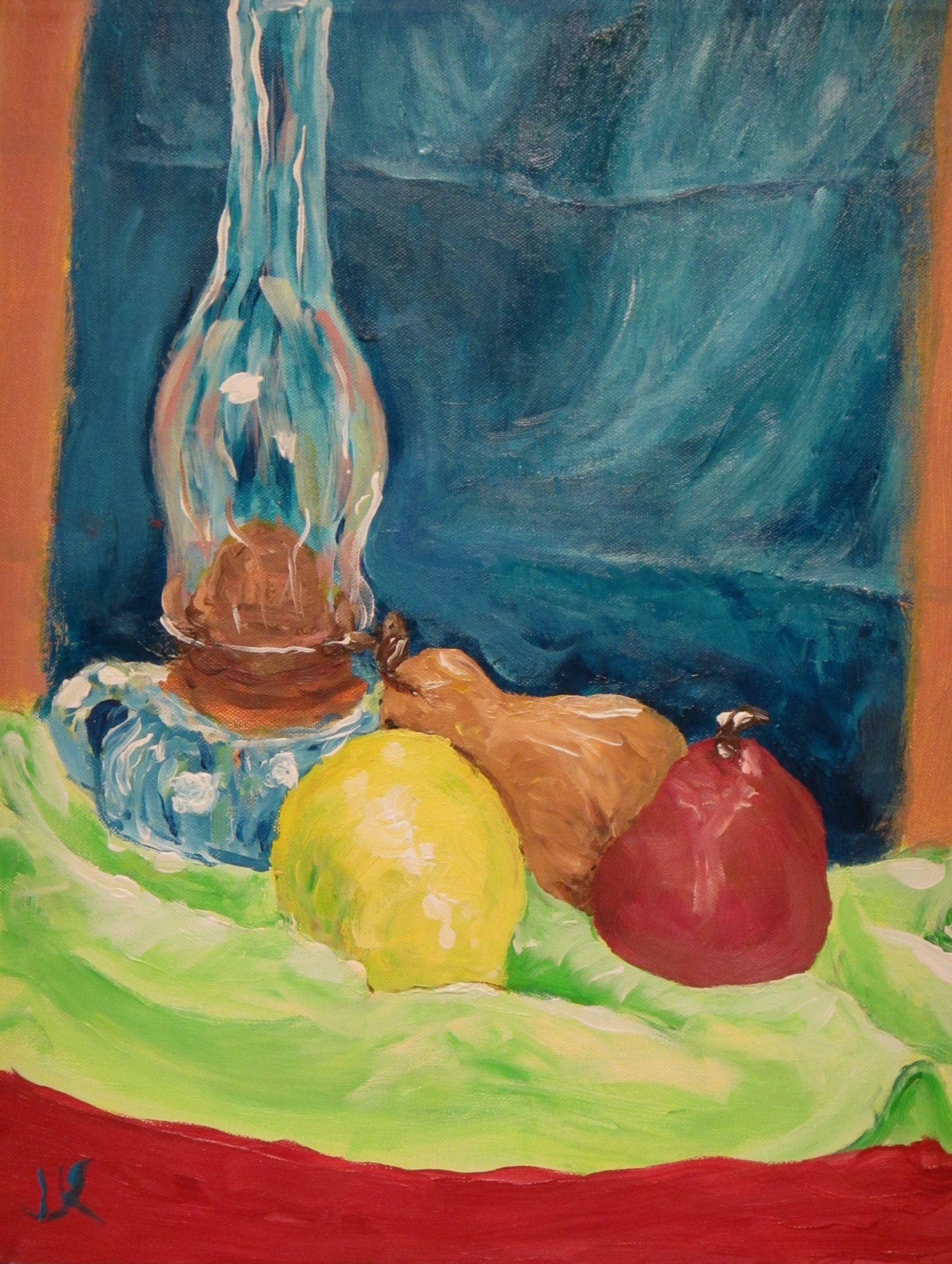 Acrylic on canvas still life painting of some pears and an old oil lamp.