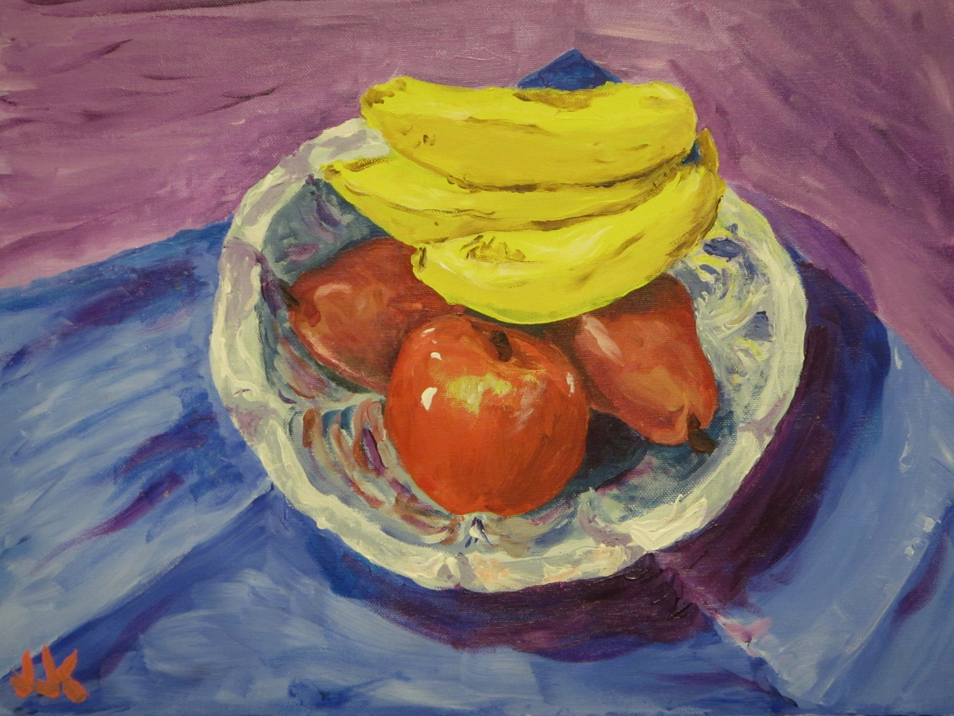 Acrylic on canvas still life painting of bananas, pears and an apple in a pewter bowl.