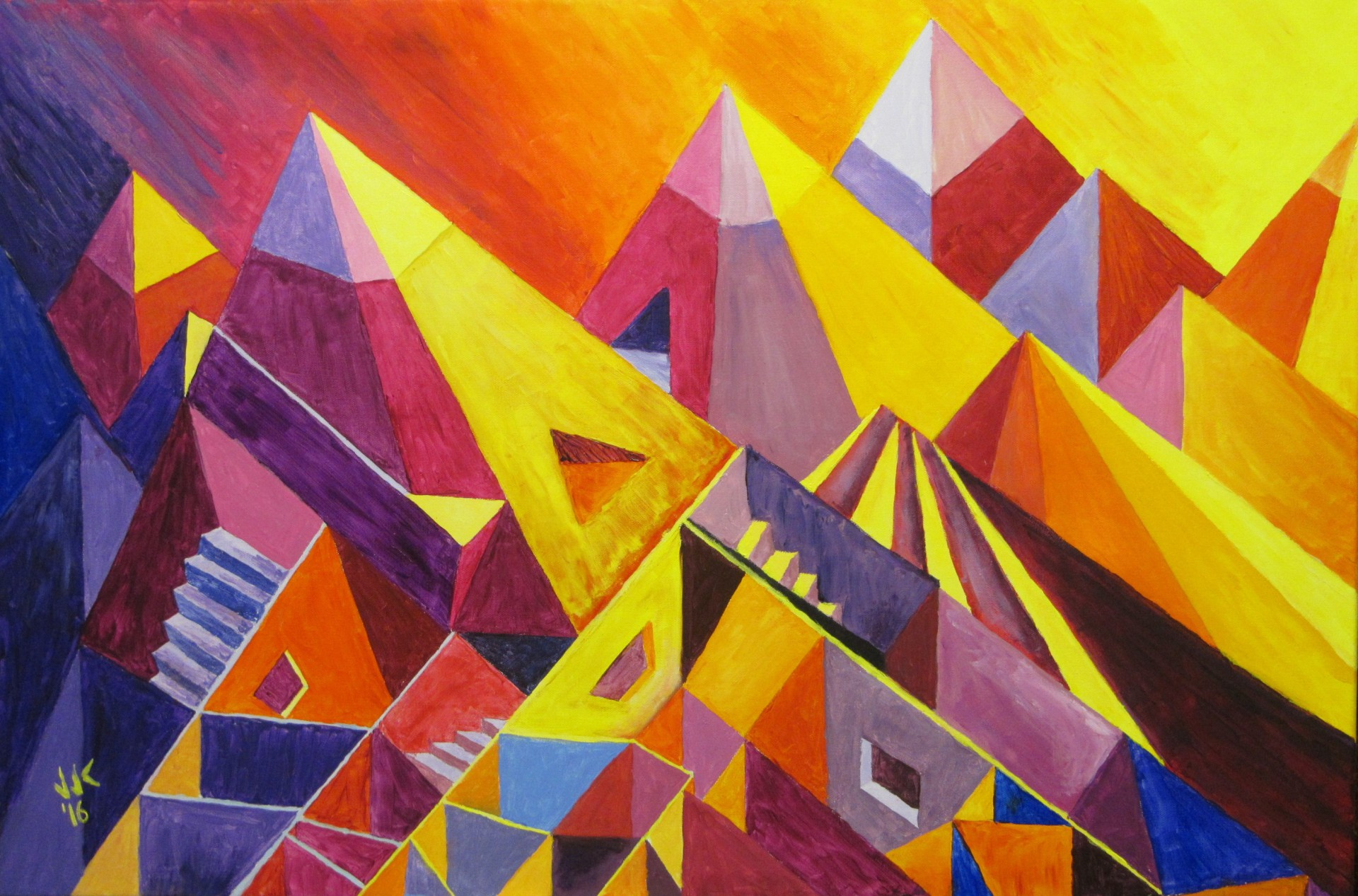 Acrylic on canvas abstract painting of the Rocky Mountains in sunrise and sunset colors.
