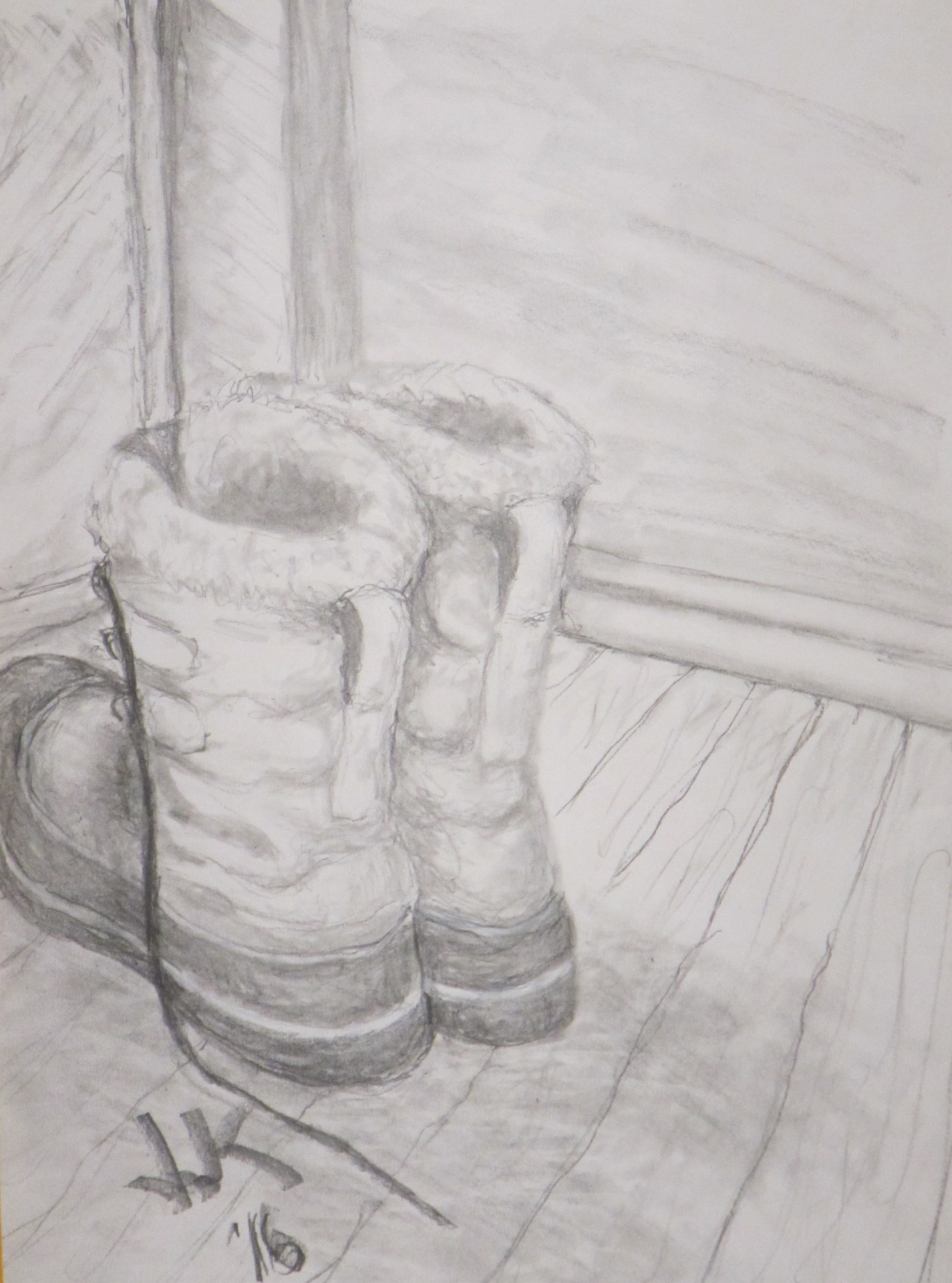 Pencil drawing of a pair of snow boots waiting by door.