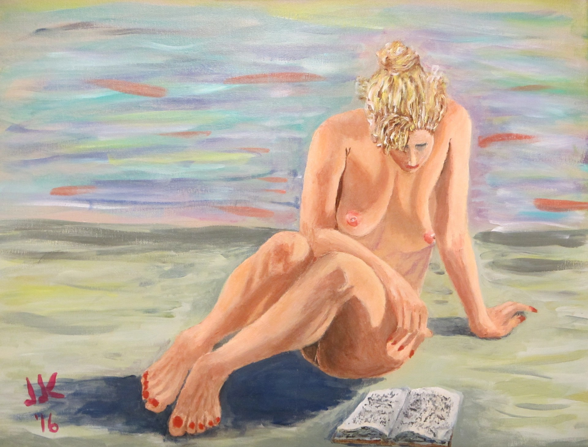 Acrylic on canvas painting of a nude woman reading a book.