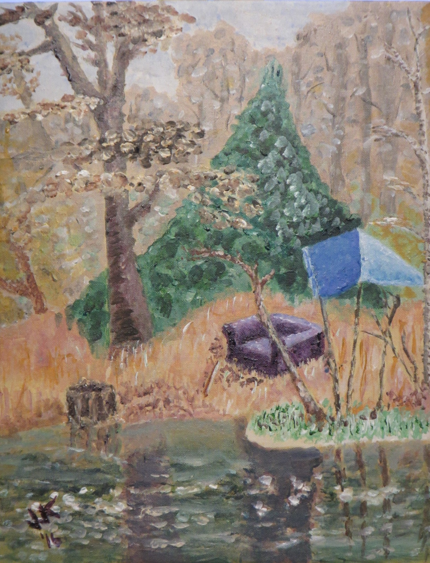 Acrylic on canvas painting of an old couch and a tarp by a lake in East Texas.