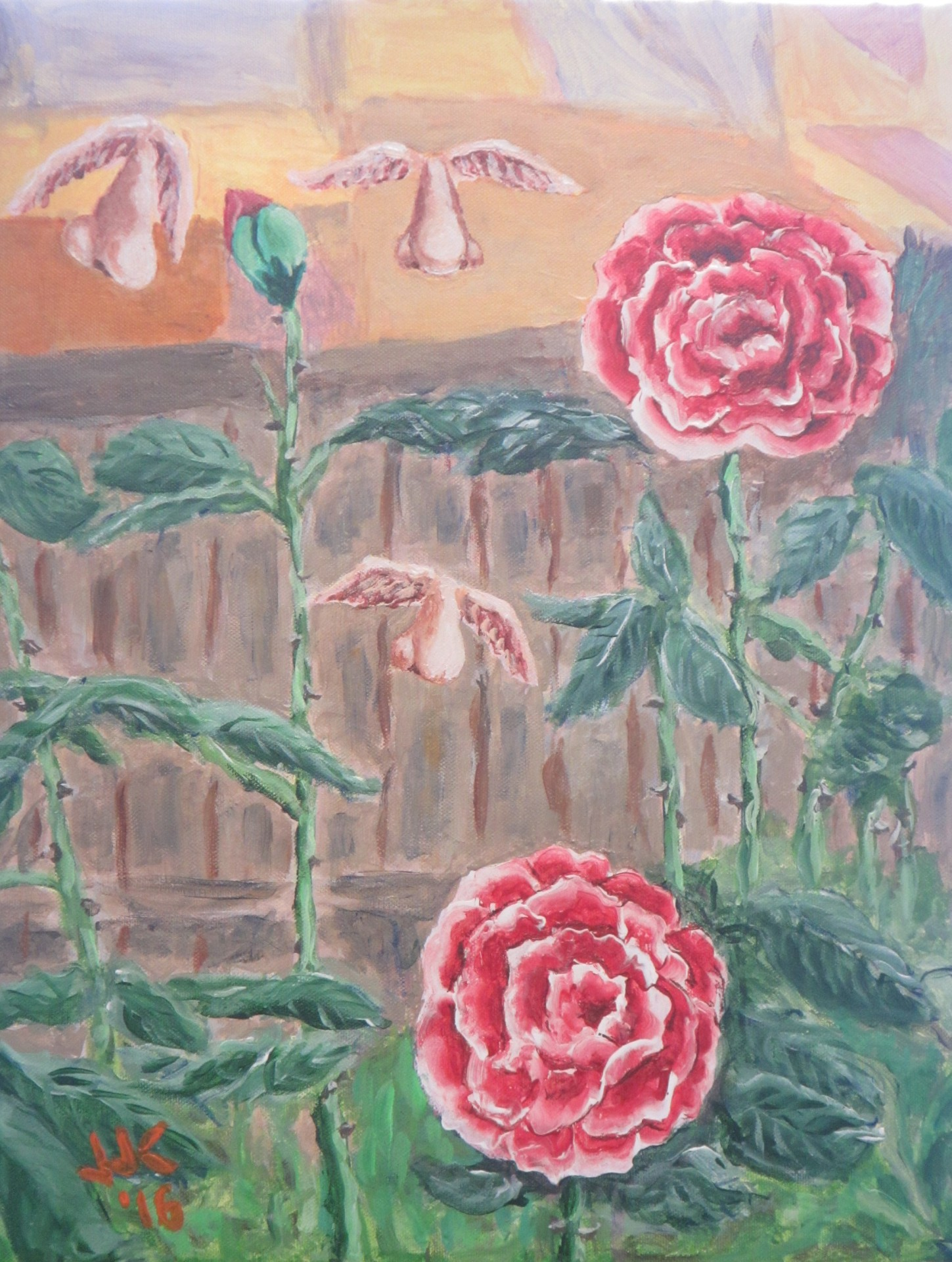 Acrylic on canvas surrealistic painting of red roses in a garden and flying noses coming in for a smell.