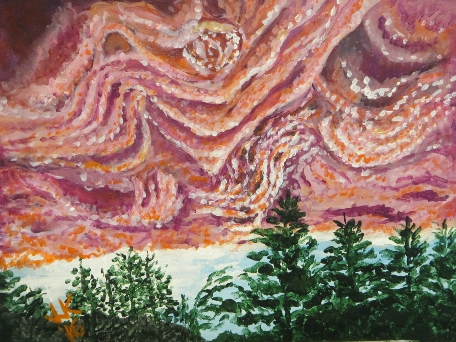 Acrylic on canvas impressionist painting of an unusual cloud formation.