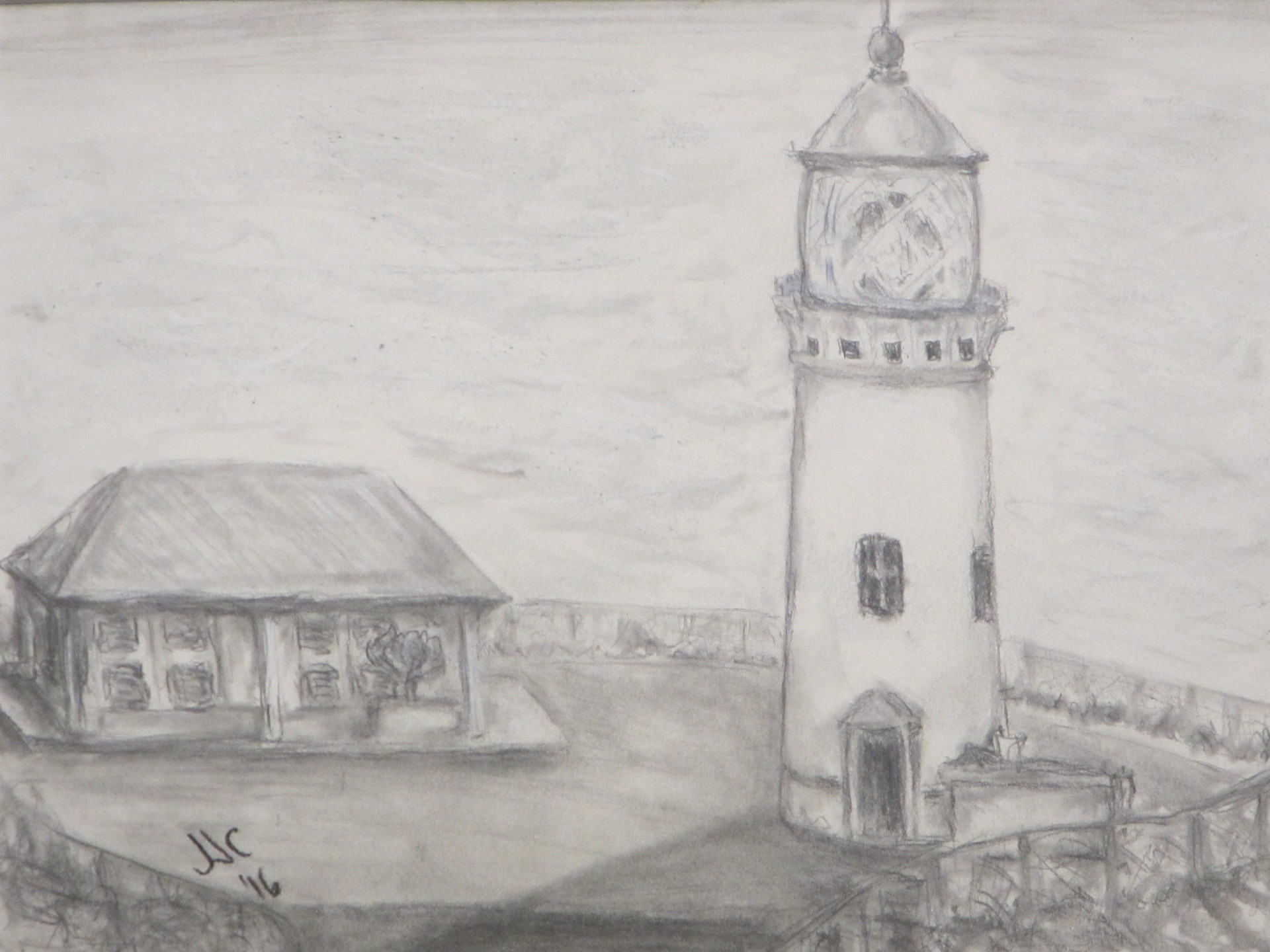 Pencil drawing of the Kilauea Lighthouse on the north shore of Kauai.