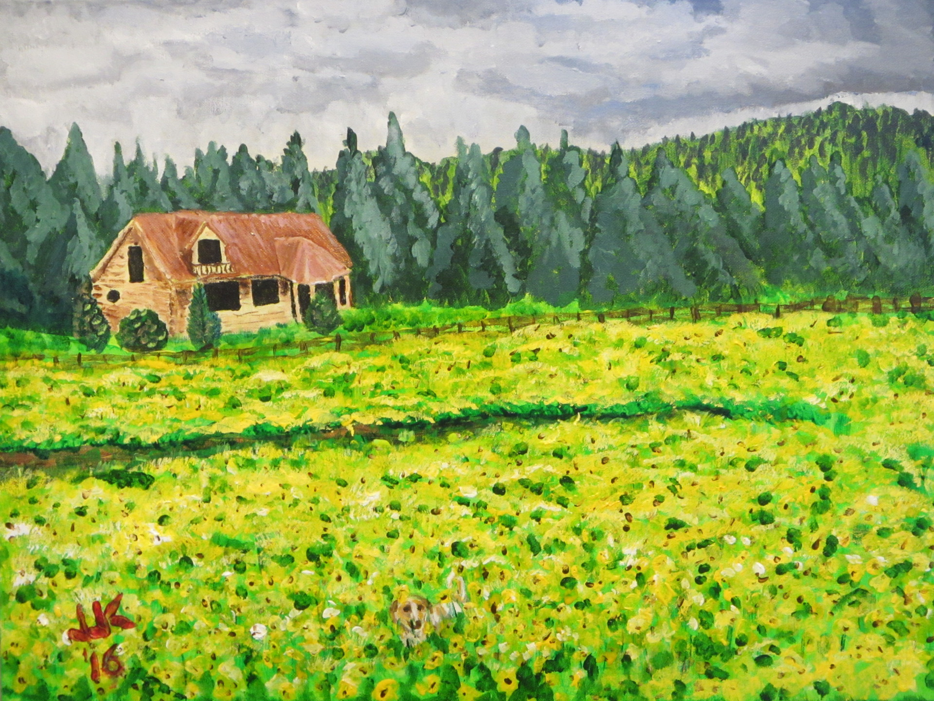 Acrylic on canvas painting of a house with a field of yellow flowers in the foreground and a yellow dog hiding in the flowers.