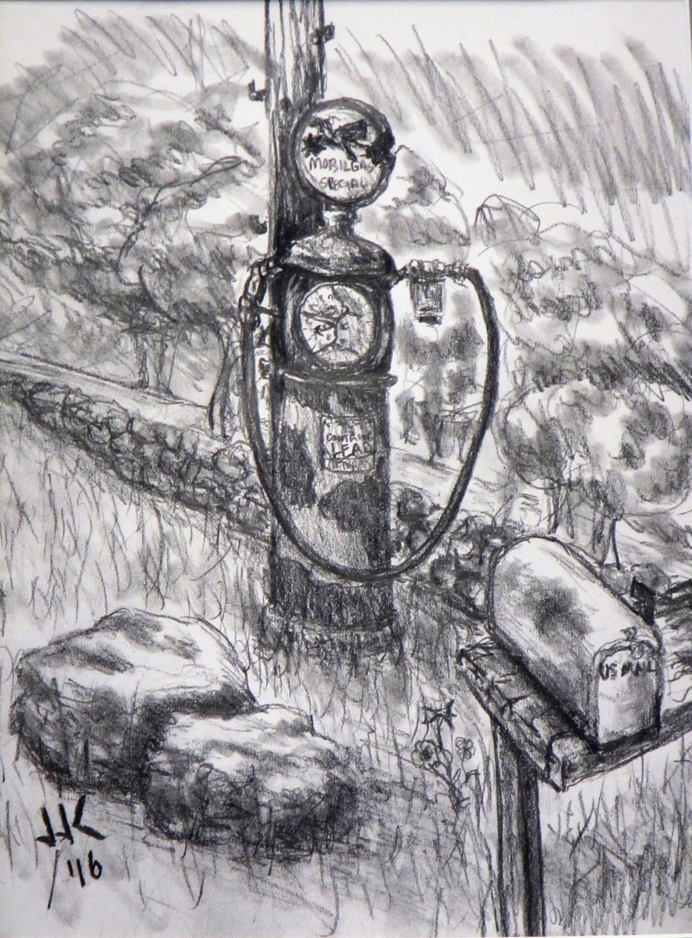Pencil drawing of a rusted out antique gas pump.