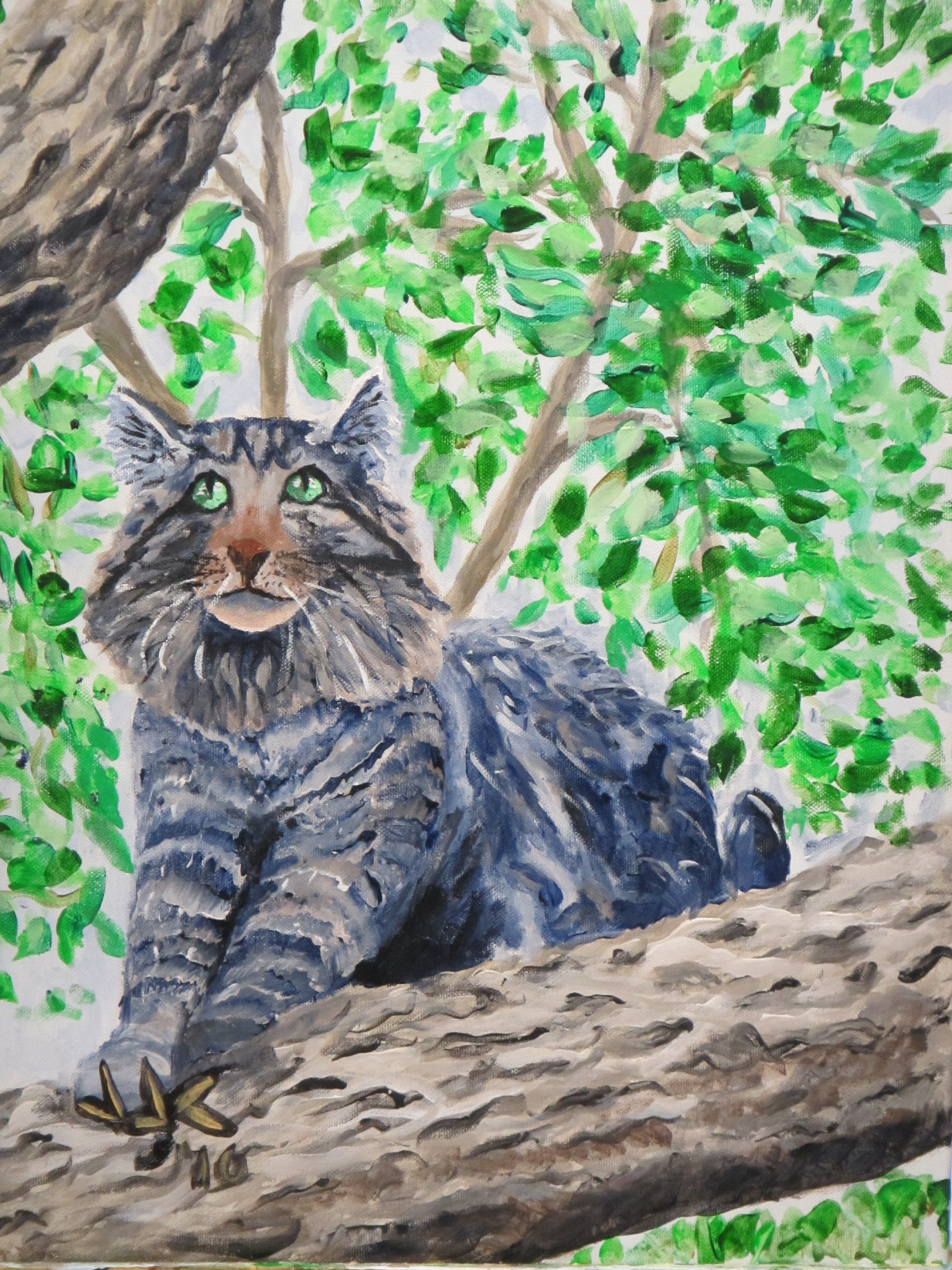 Acrylic painting of a really cool cat in a tree.