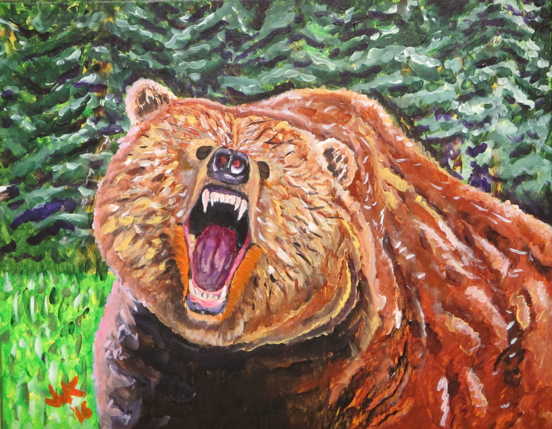An angry grizzly bear.