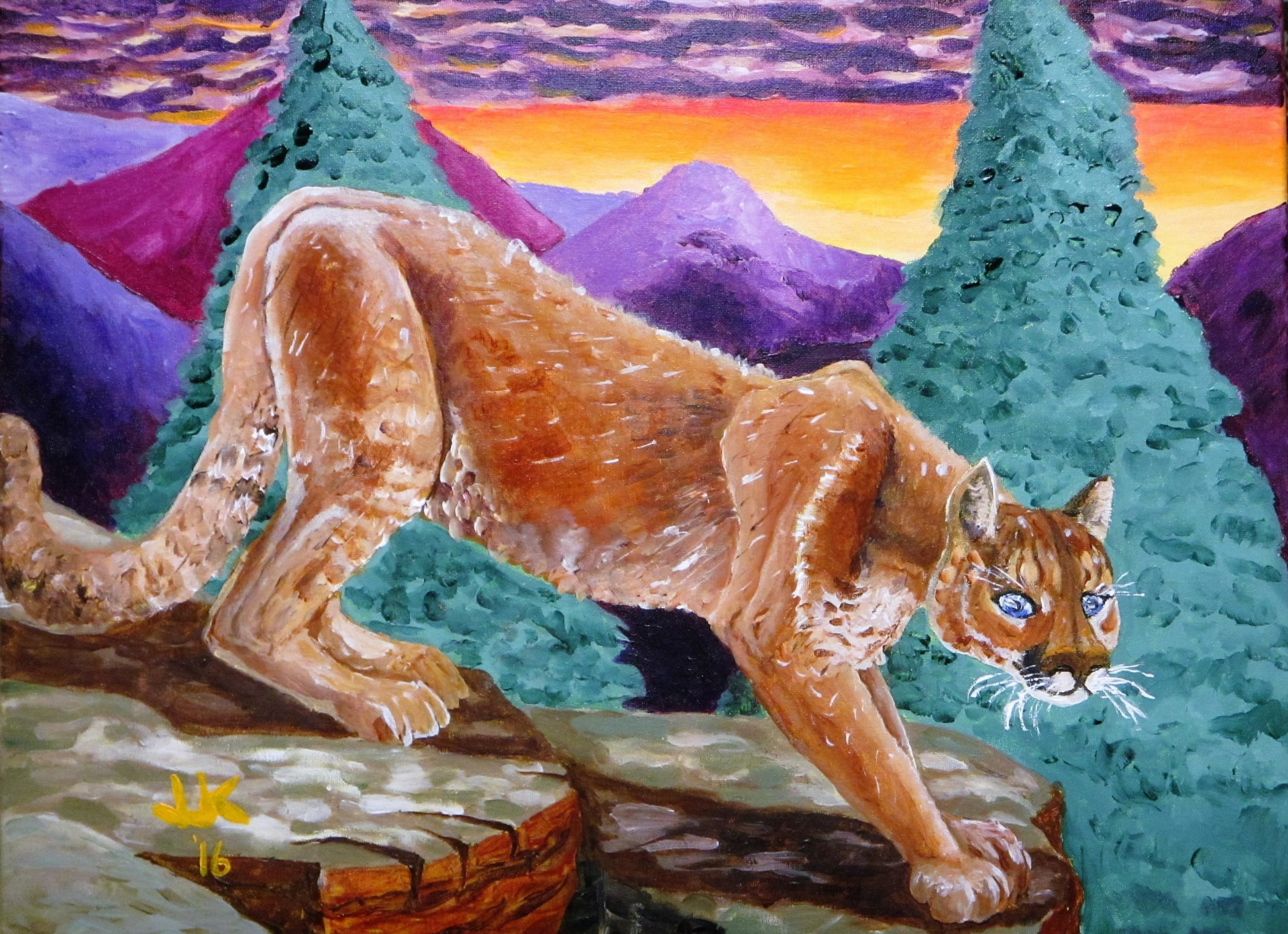 A mountain lion perched on a high rock with a Rocky Mountain sunset in the background.