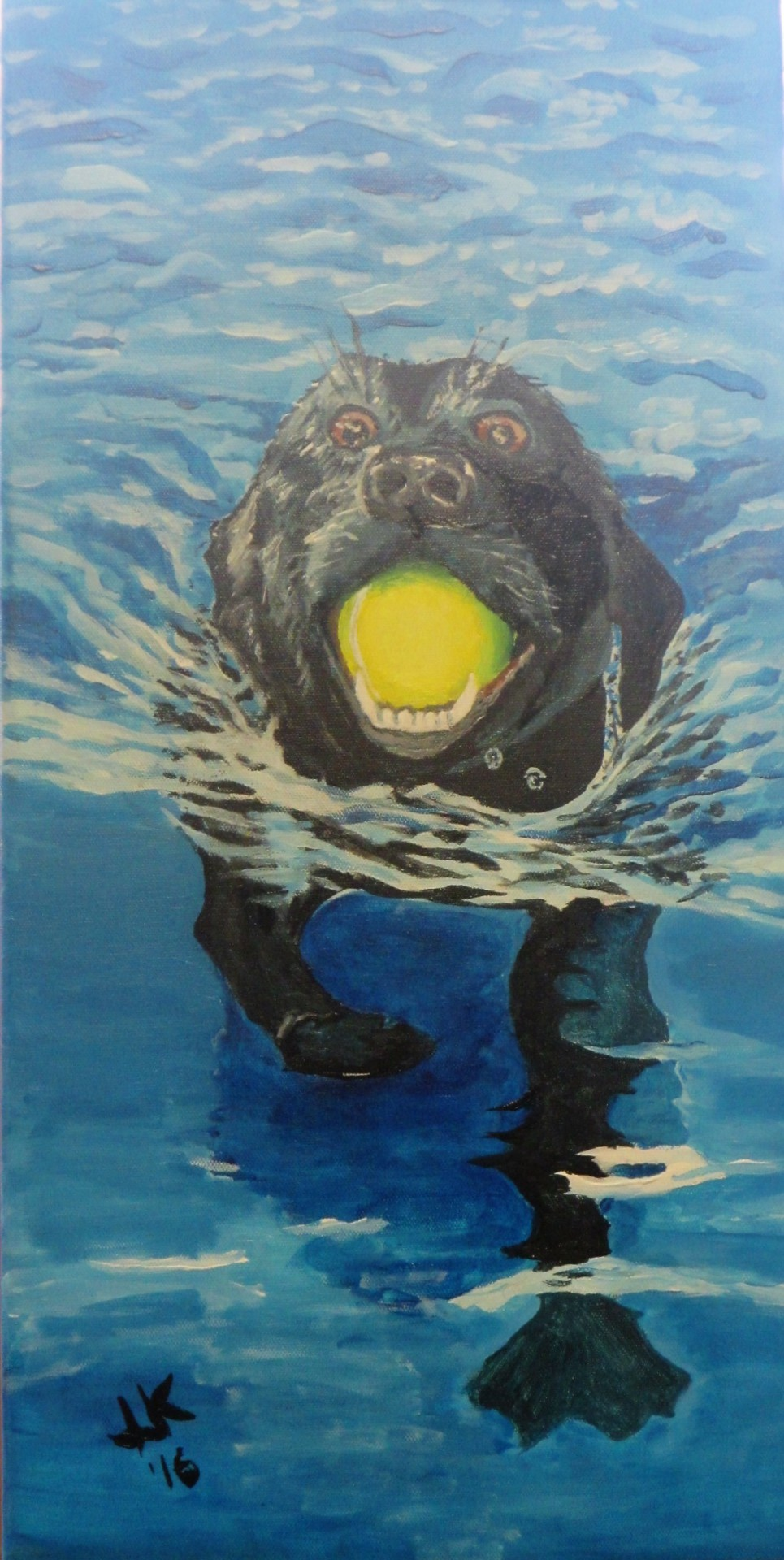Painting of a black lab with a tennis ball in his mouth and swimming in a pool.