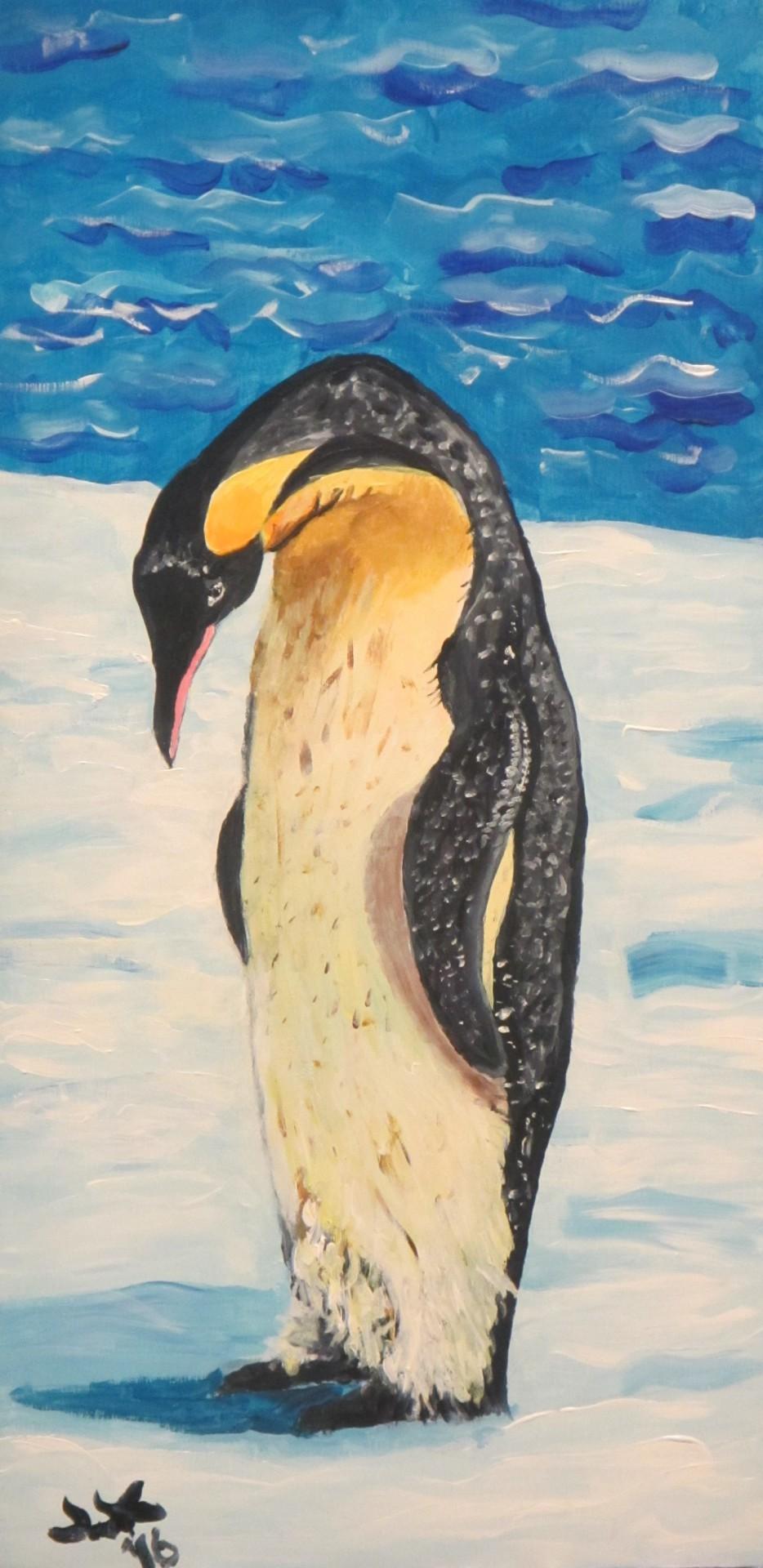 A lone emperor penguin.