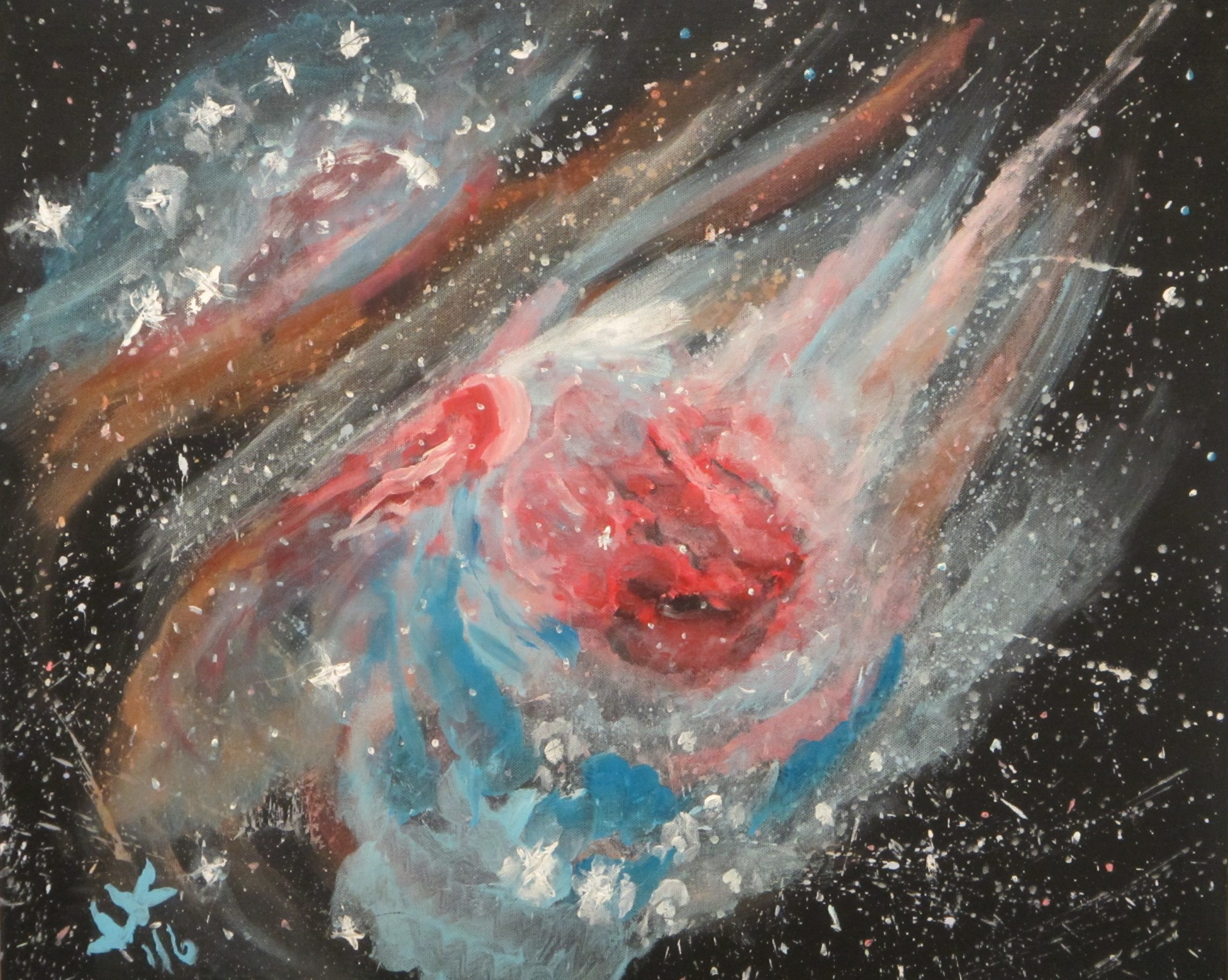 Abstract starscape showing a hydrogen cloud glowing pink with radiation.