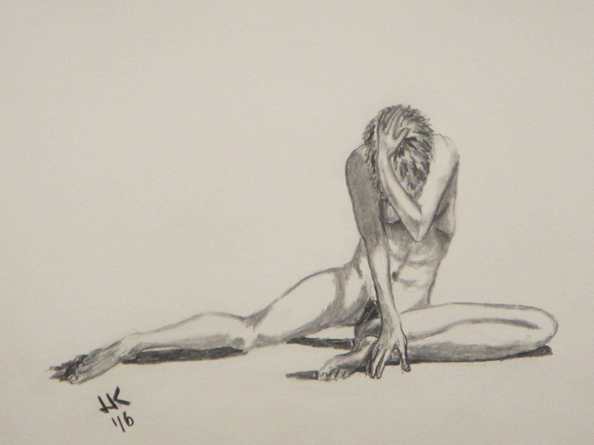 Nude woman in angst.