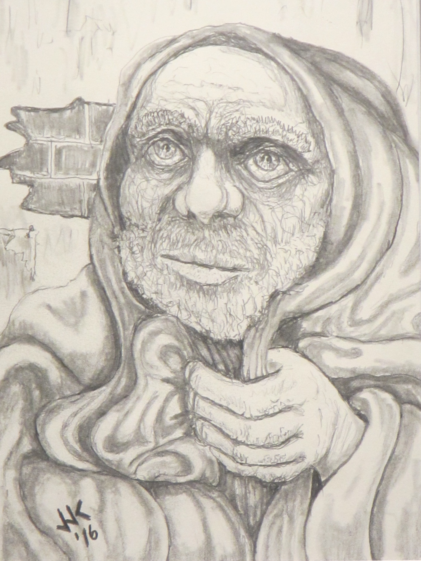 """A homeless old man.  """"Forgotten Faces"""" series number 2."""