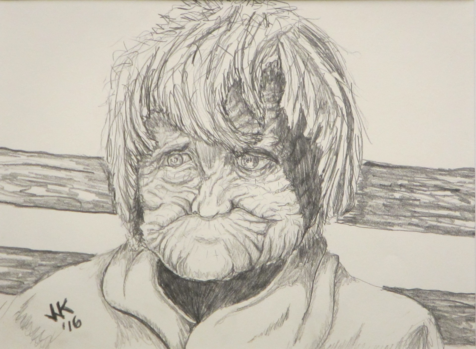 A homeless old woman.