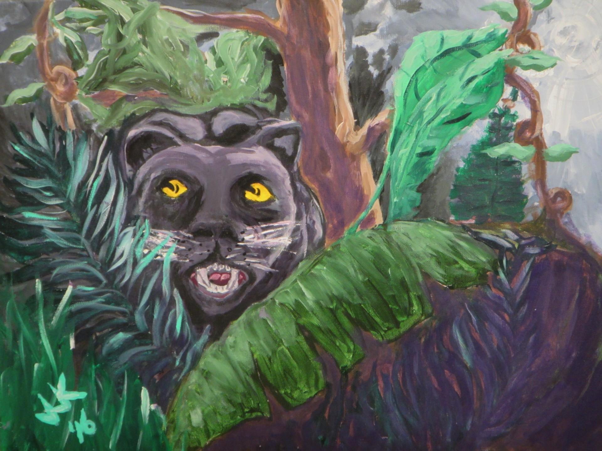 A black jaguar in the night jungle.