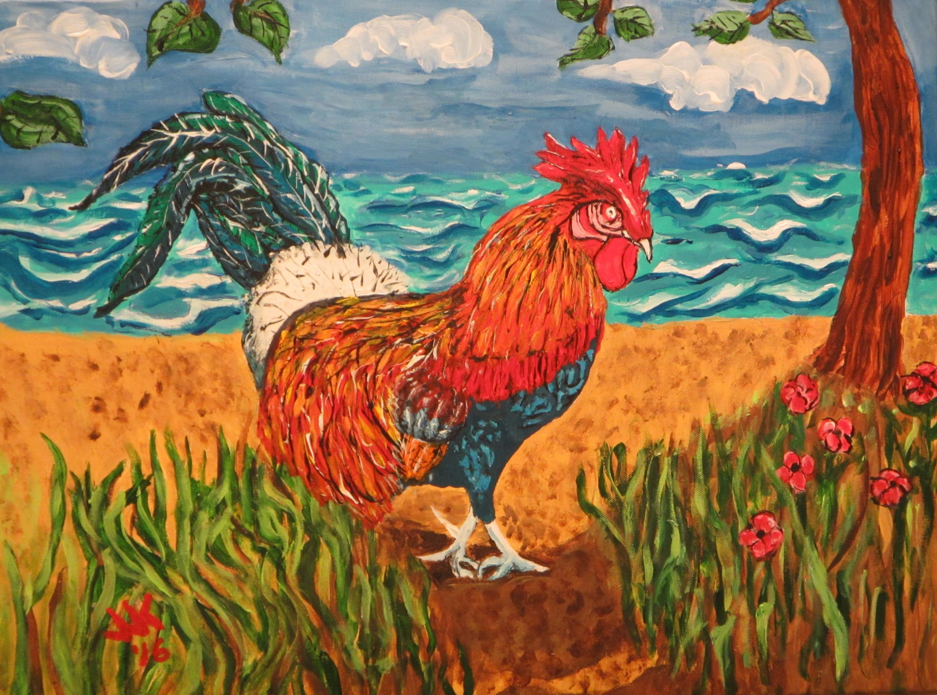 A Kauai Rooster walking back from the beach.