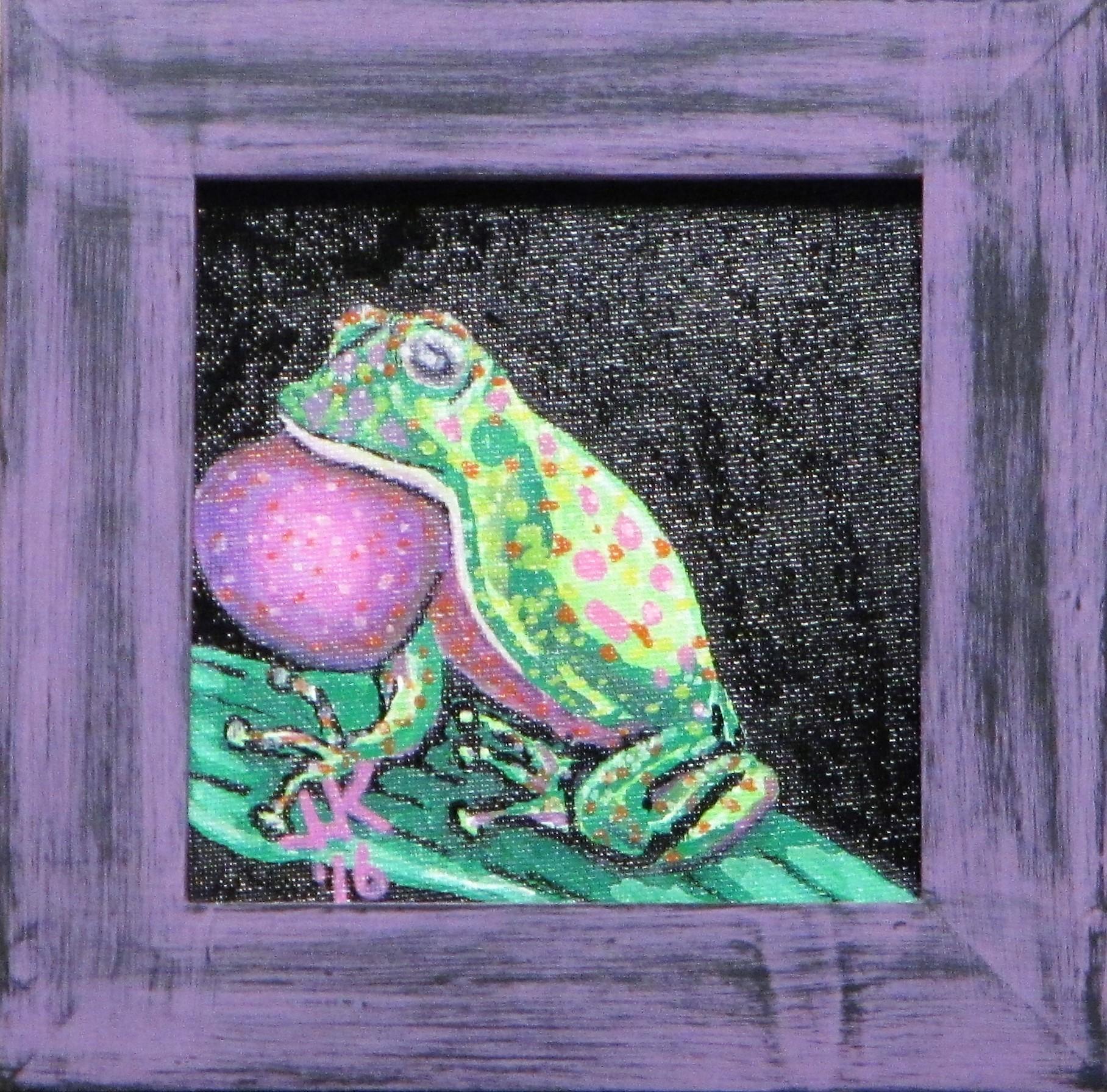 A green & purple tree frog.