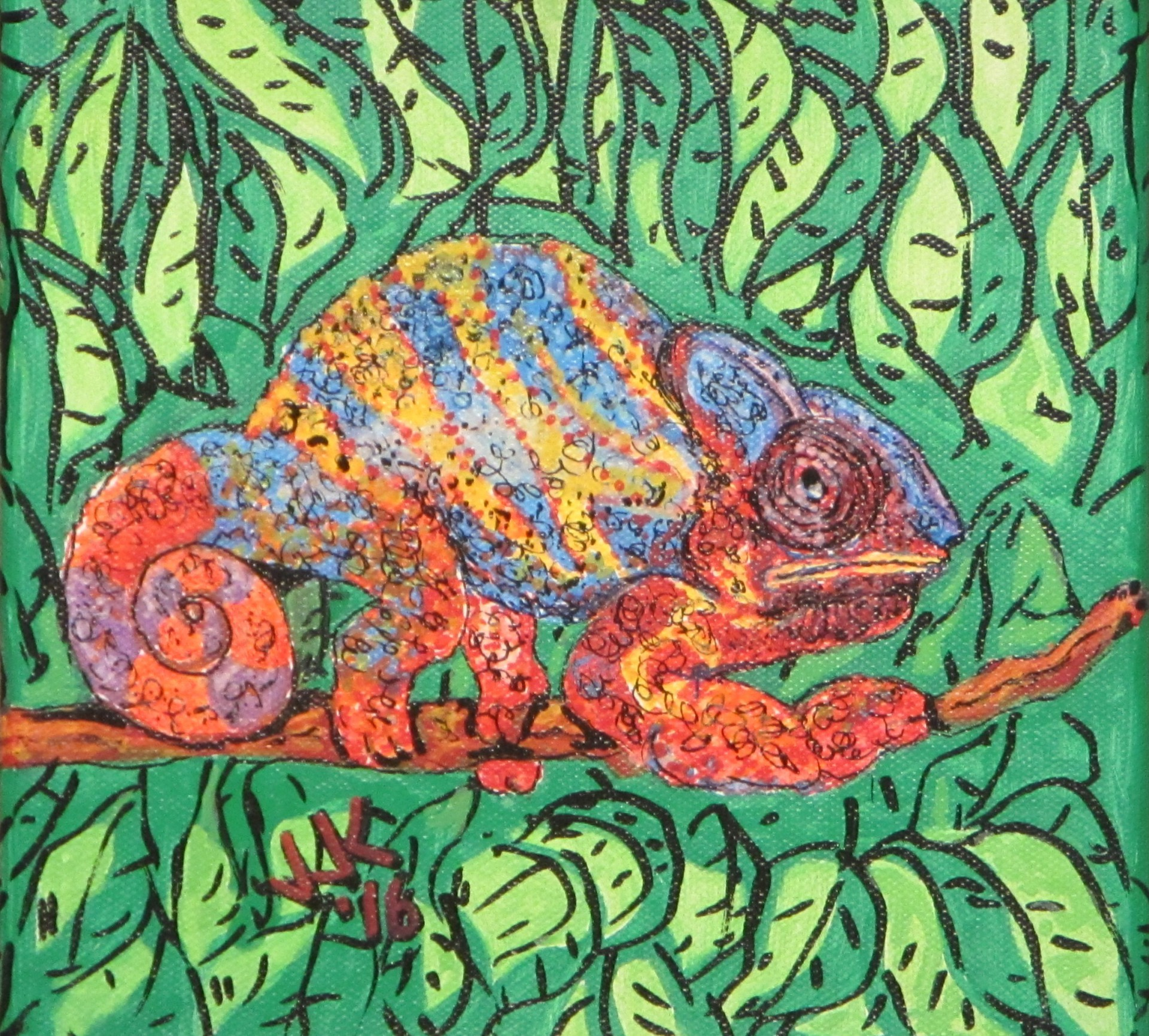 A colorful chameleon.