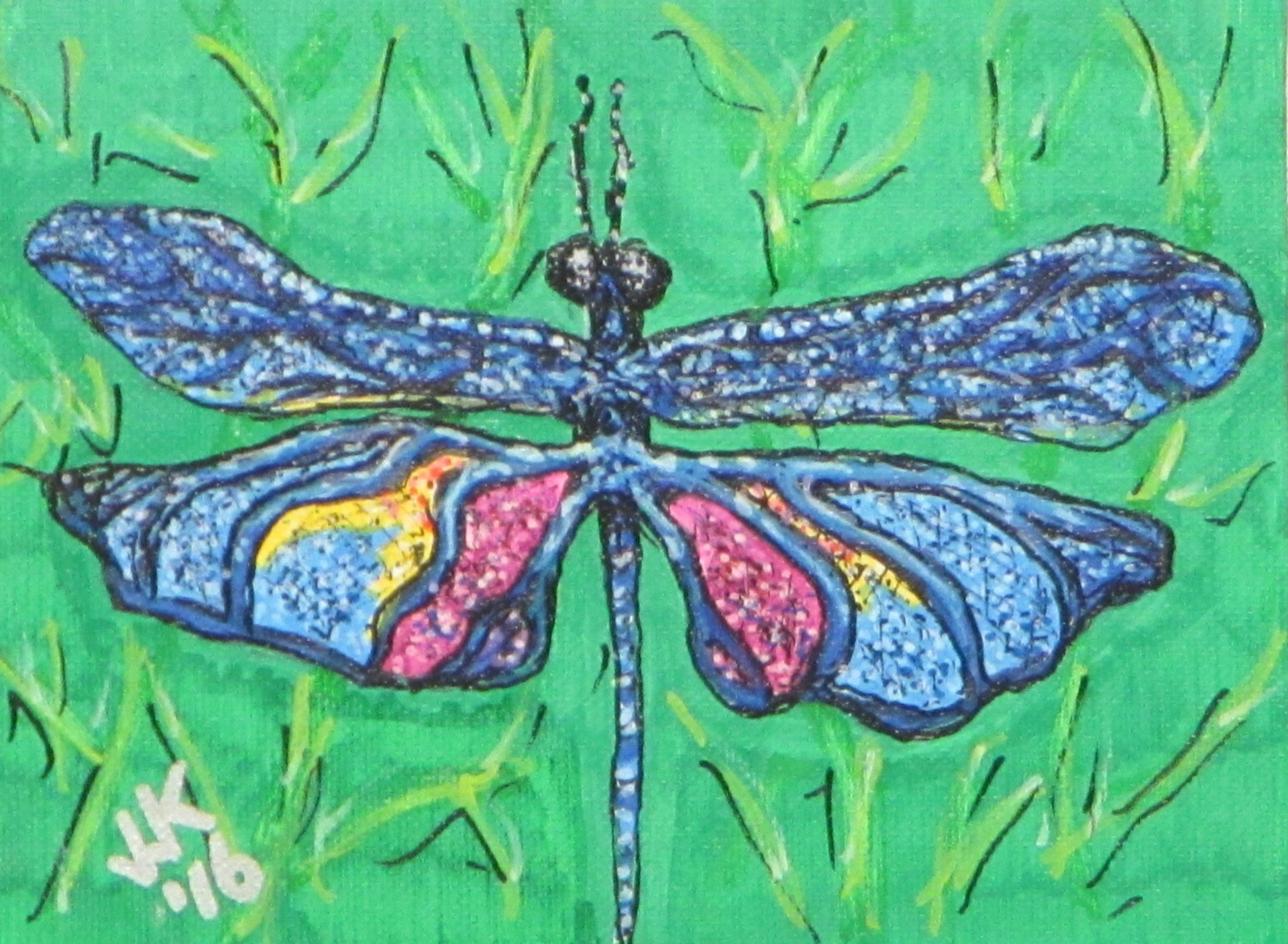 A blue and purple dragonfly.
