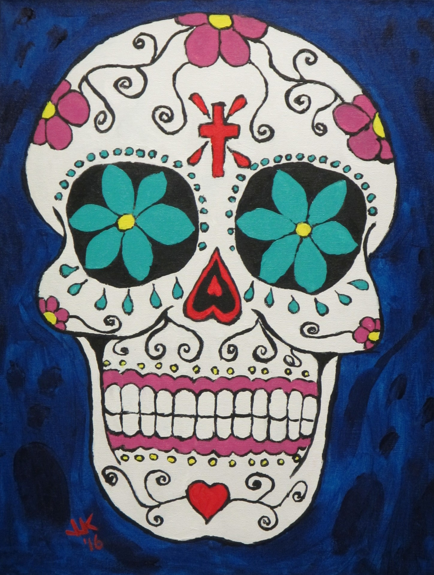 A Mexican Day of the Dead skull & spooks.