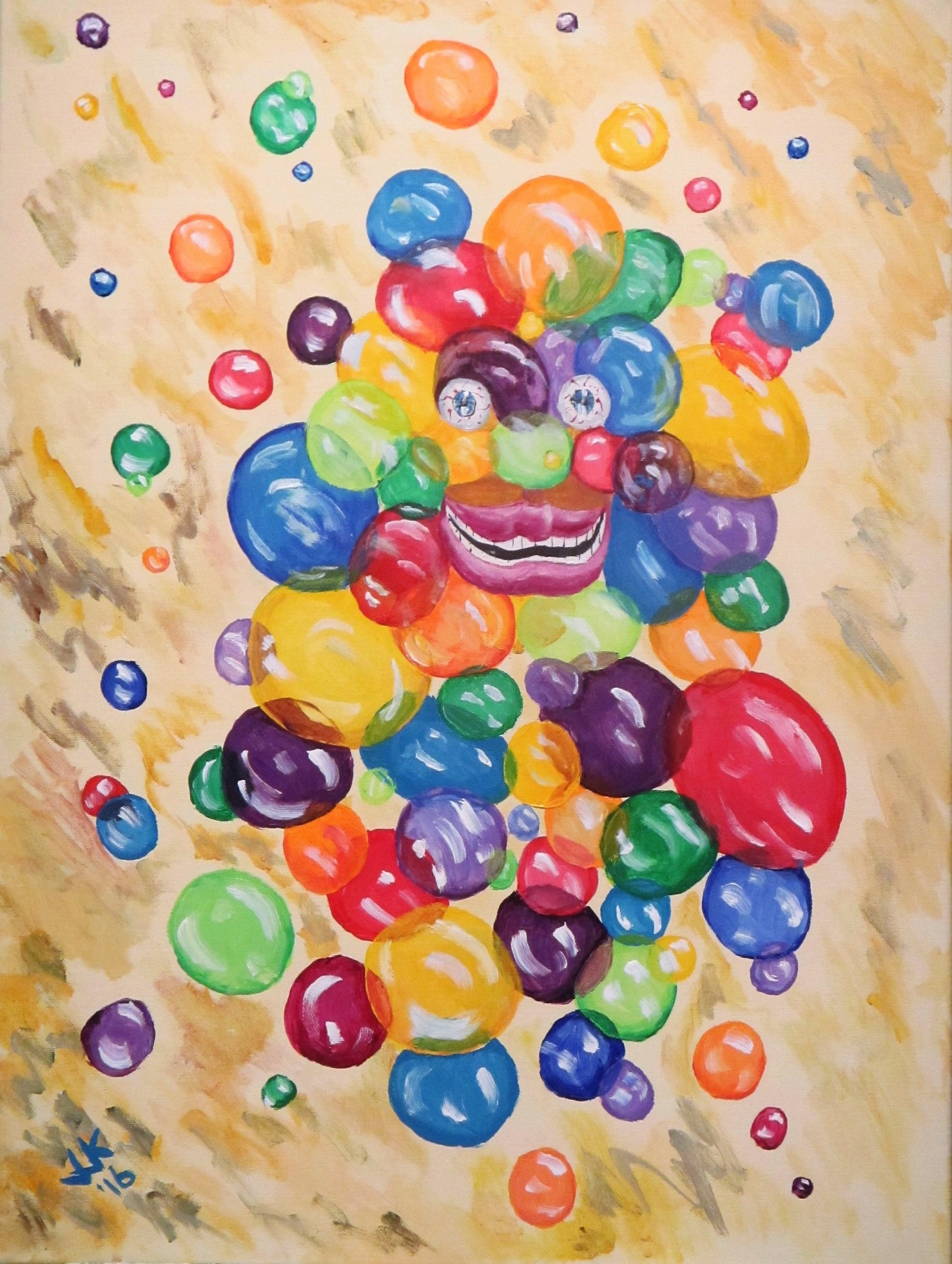 Abstract of a man made of bubbles.