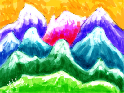 Digital Abstract of dawn in the Rockies.