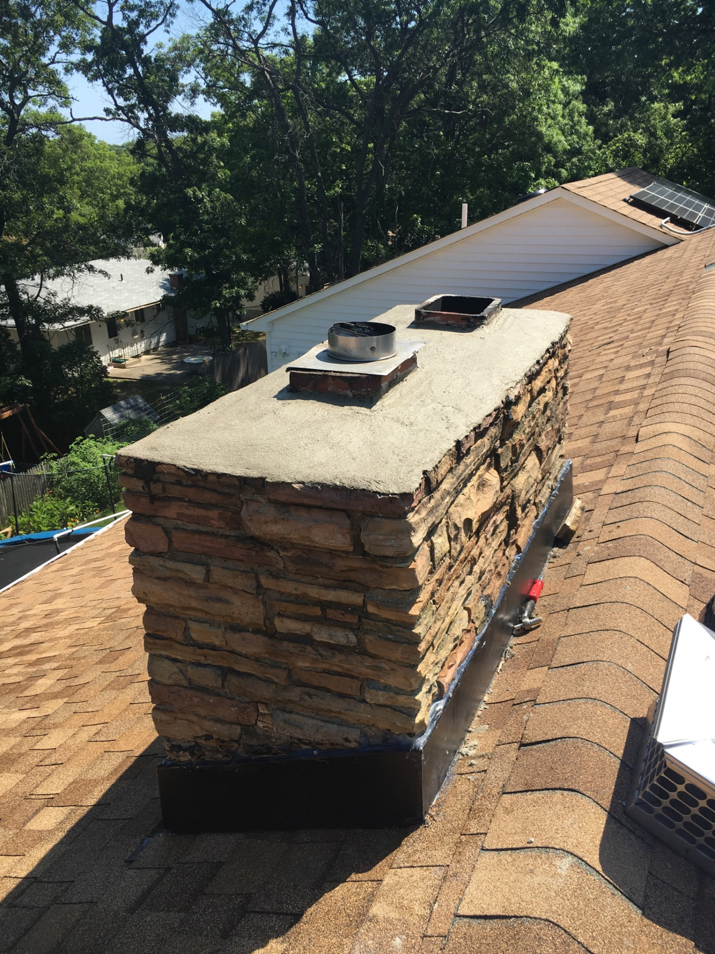Cement crown on Stone Chimney