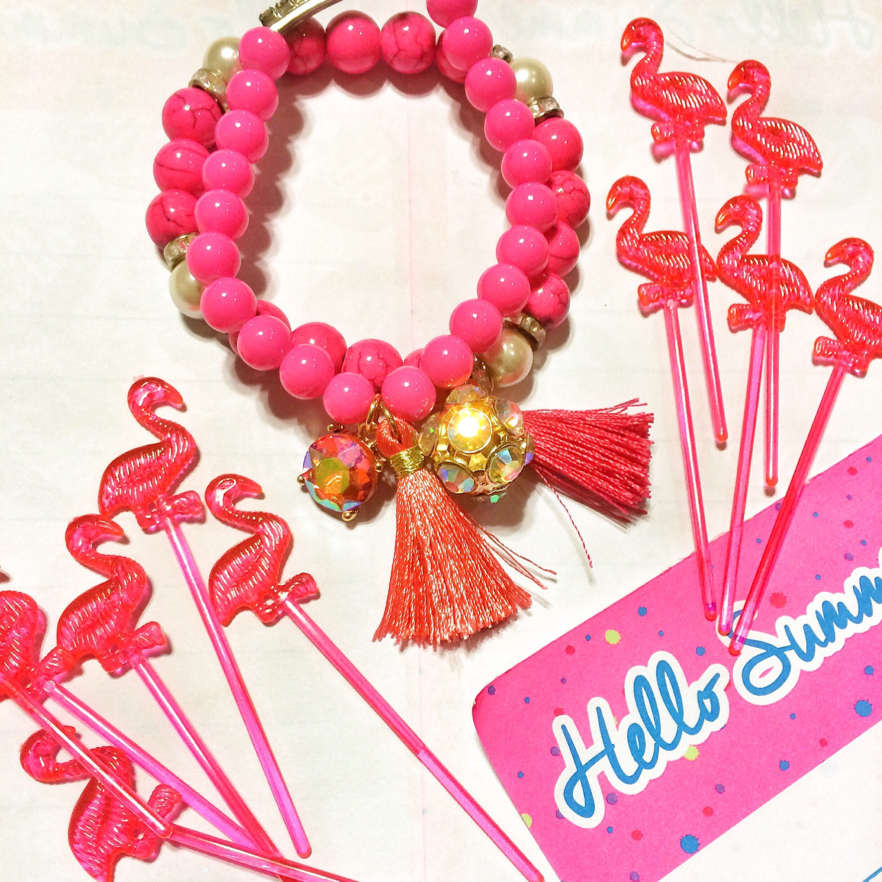 Flamingo Party Stacking bracelets