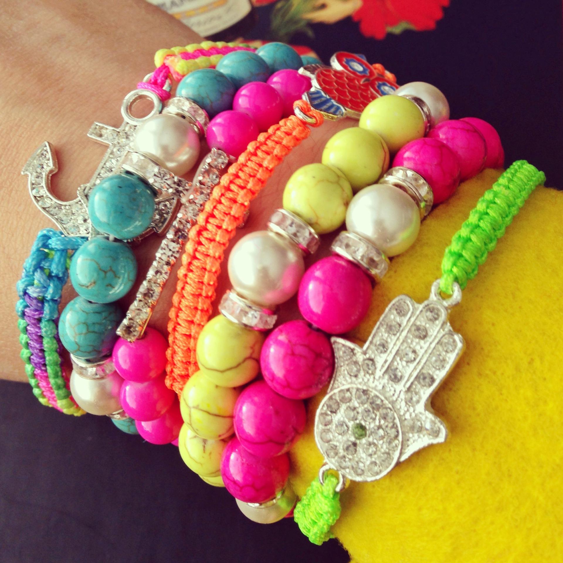 Neon BoHo Stacking Bracelets