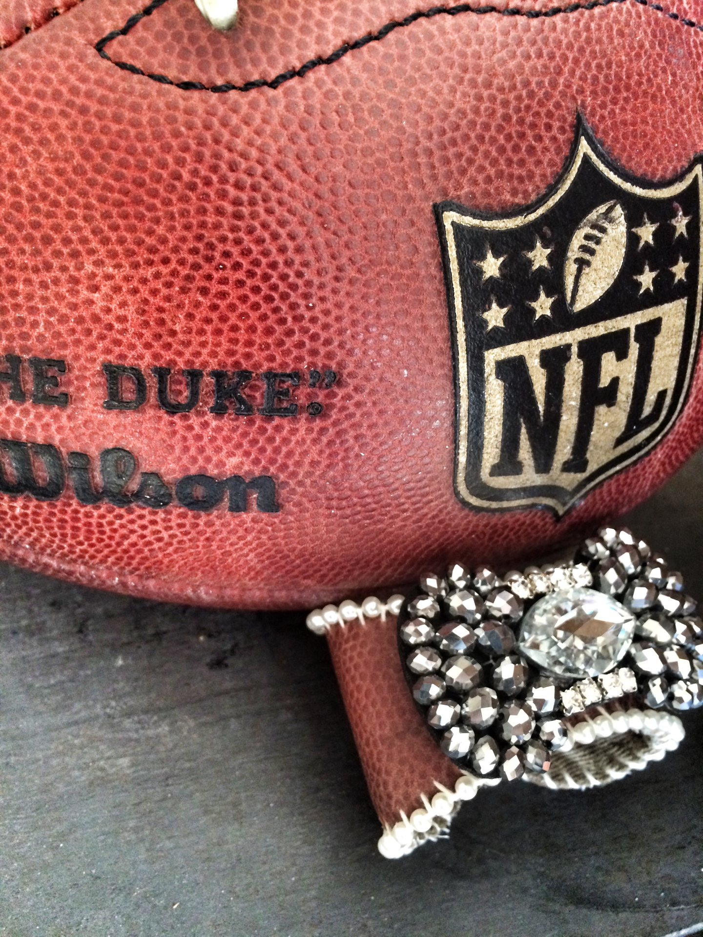 Football Cuff with Rhinestone Brooch