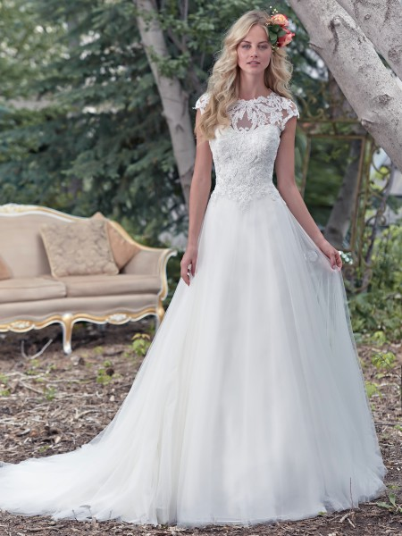 Chandler maggie sottero high neckline lace sparkle tulle ball gown aline