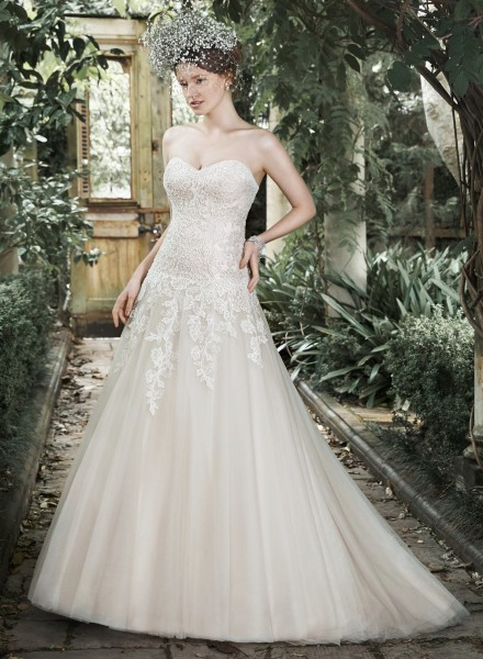 Josephine maggie sottero strapless lace sparkle tulle a-line