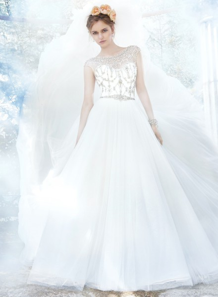 leandra maggie sottero high neckline sparkle tulle ball gown