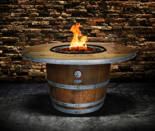 Unique Vin de Flame Propane Fire Pit from Recycled Sonoma Valley Wine Barrel