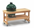 Big Green Egg in Cypress Wood Table