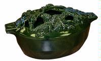 John Wright Green Majolica Enamel Acorn Cast Iron Steamer