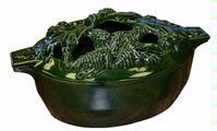 John Wright Green Majolica Enamel Acorn Cast Iron Steamer