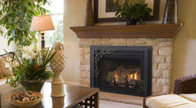 Quadra-Fire QFI30FB Gas Insert with Firescreen Leaves Front