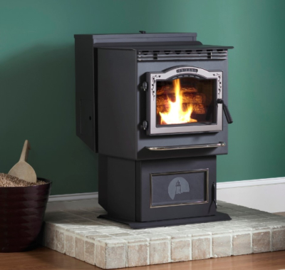 Harman P43 Pellet Stove with Brushed Stainless Leaf Trim and Deer Slate Inlay