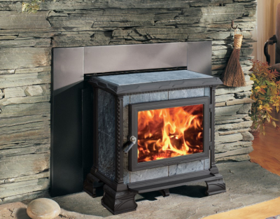 Hearthstone Heritage Hearthmount Wood Stove, Soapstone with Matte Black Trim