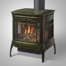 Hearthstone Bristol DX Gas Stove in Basil Enamel with three-sided viewing