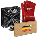 Imperial Fireplace Gloves, Firebrick and Circulating Fan