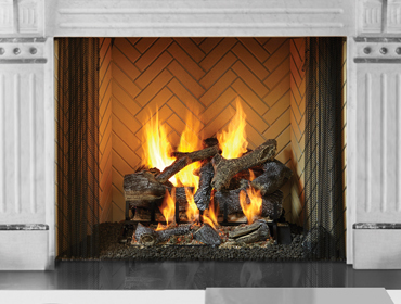 Heat & Glo Rutherford Wood Fireplace with Herringbone Brick Refractory Panels