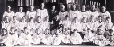 The choir with E H Fellowes & Malcolm Boyle in 1926