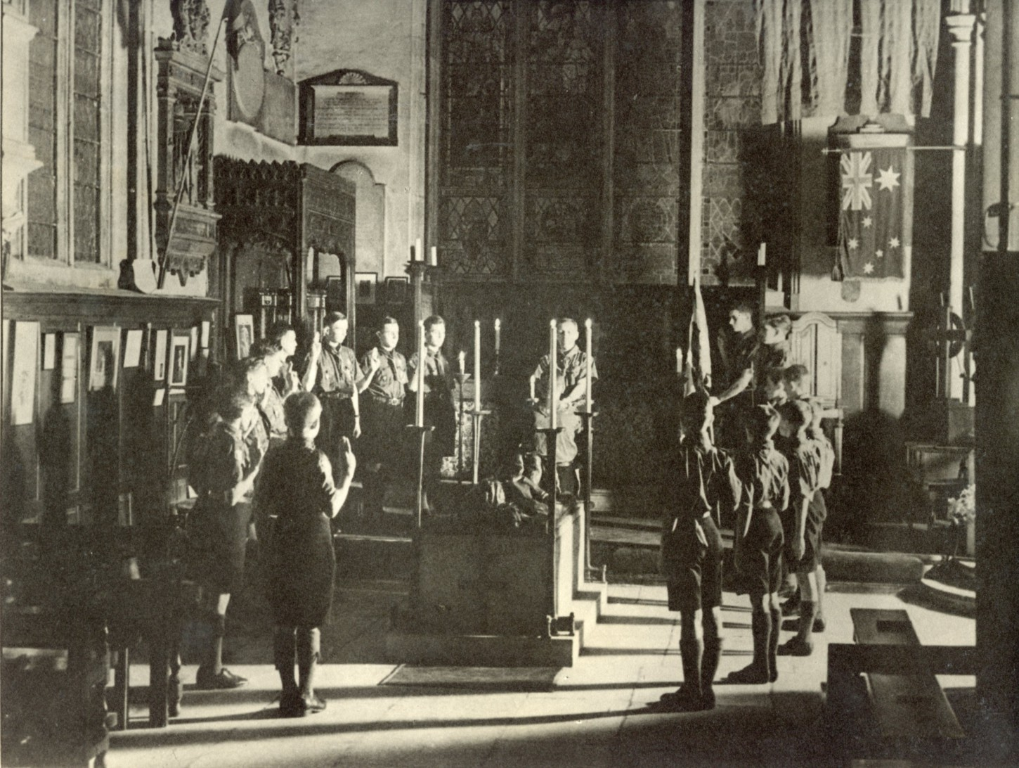 New Chorister Scouts swearing the Oath of Allegiance, 1935