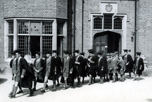 Choristers on their way to chapel, 1963