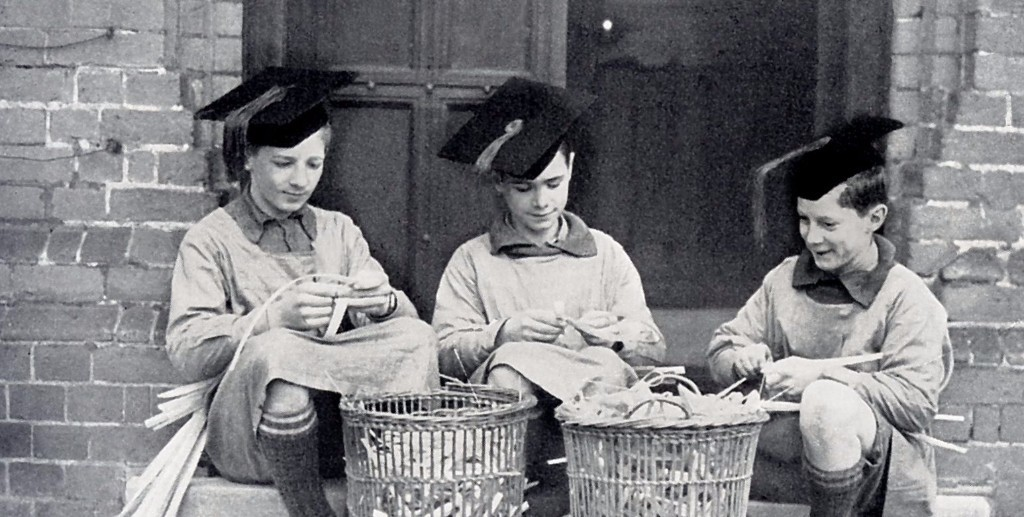 Making palm crosses, 1930
